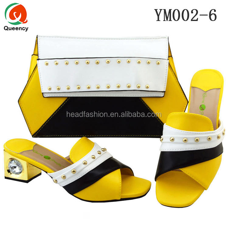 YM002 Queency Mode Gros Chaussures Habillées Africaines et Sacs Assortis Jaune