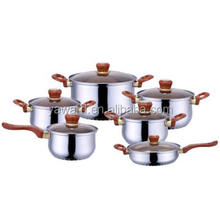 Kitchen King Cooking Pot Stainless Steel  Cookware Set, wirh Brown Bakelite Handle