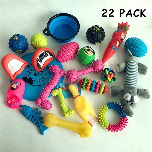 Assorted Mix Interactive 22 PACK Pet Chew Dog Toy Gift Set Wholesale New Teething Clean Cotton Rope Latex Puppy Dog Activity Toy