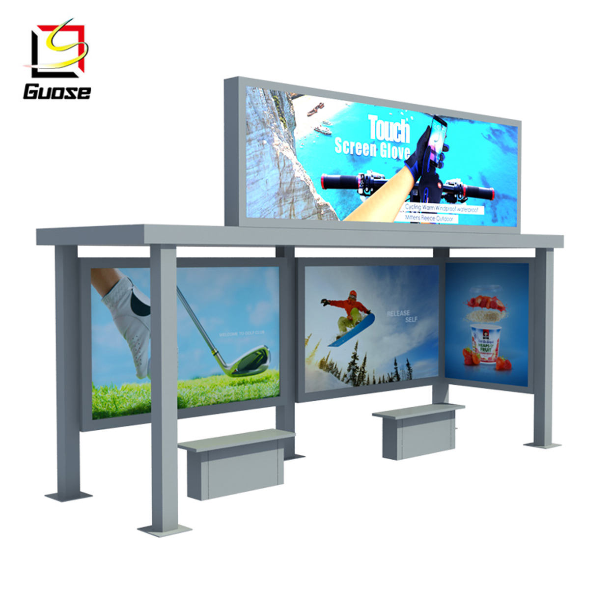 bus shelter materials advertising equipment light box solar bus stop with bench
