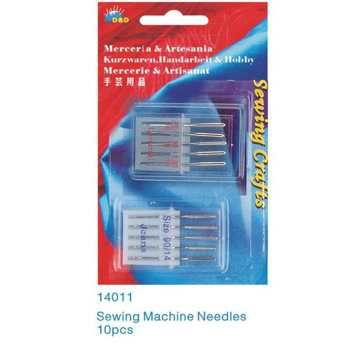 D&D Value Pack 10 PCS Domestic Sewing Machine Needles 70/10 90/14 100/16 Universal Needles For Jeans&General Fabrics