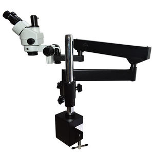 Flexible Moving Articulated Arm Long Working Distance Boom Stand Trinocular Zoom Stereo Microscope