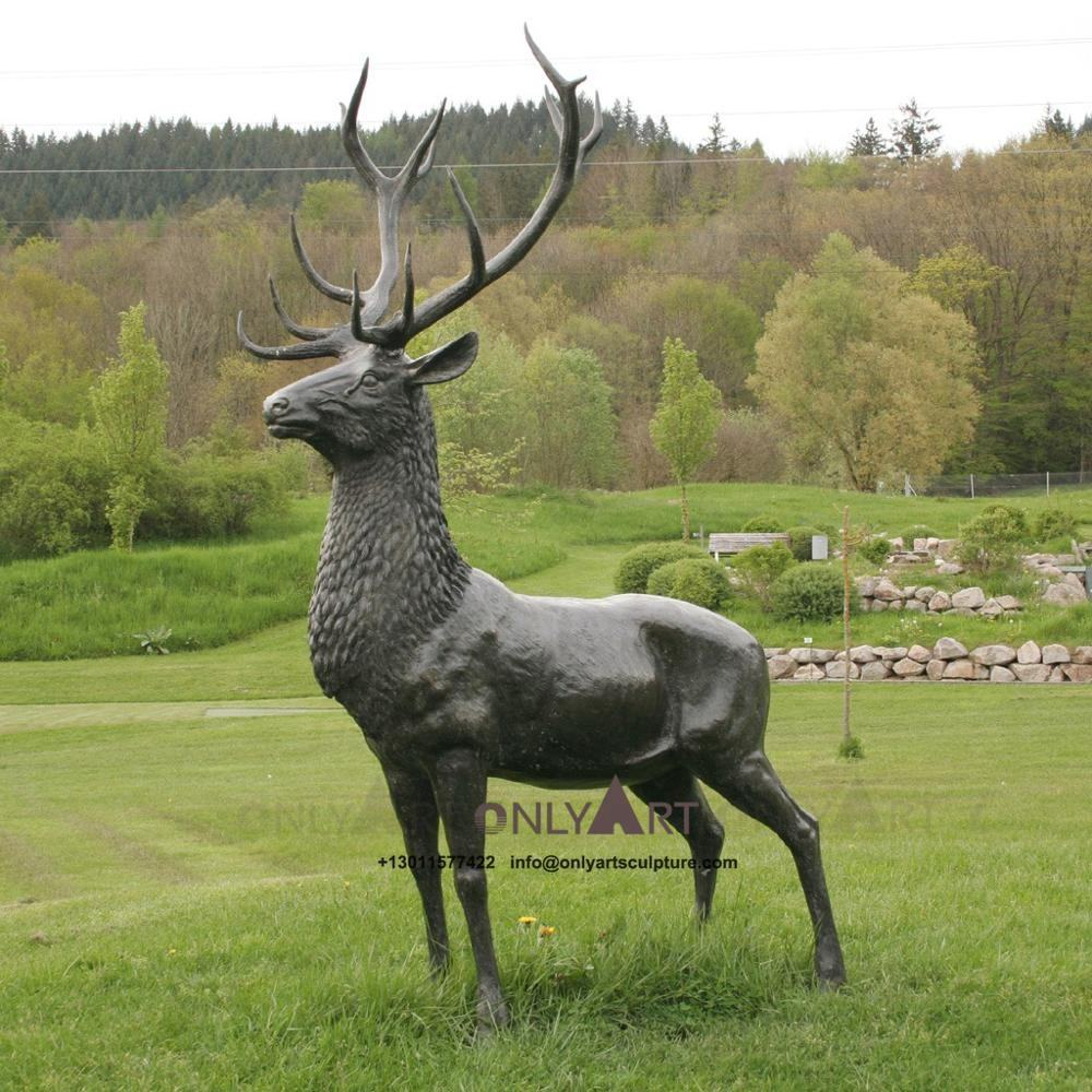 Art animal theme decorations bronze casting deer statues for outdoor