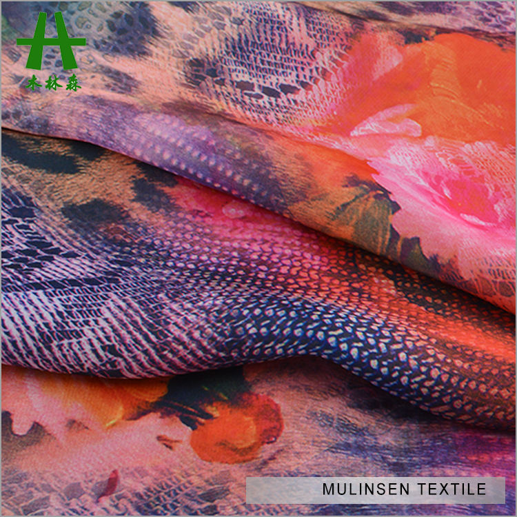 Mulinsen Textile Soft Silk Touch Woven Fine 50D Satin Chiffon Digital Print Fabric 100% Polyester Fabric Roll