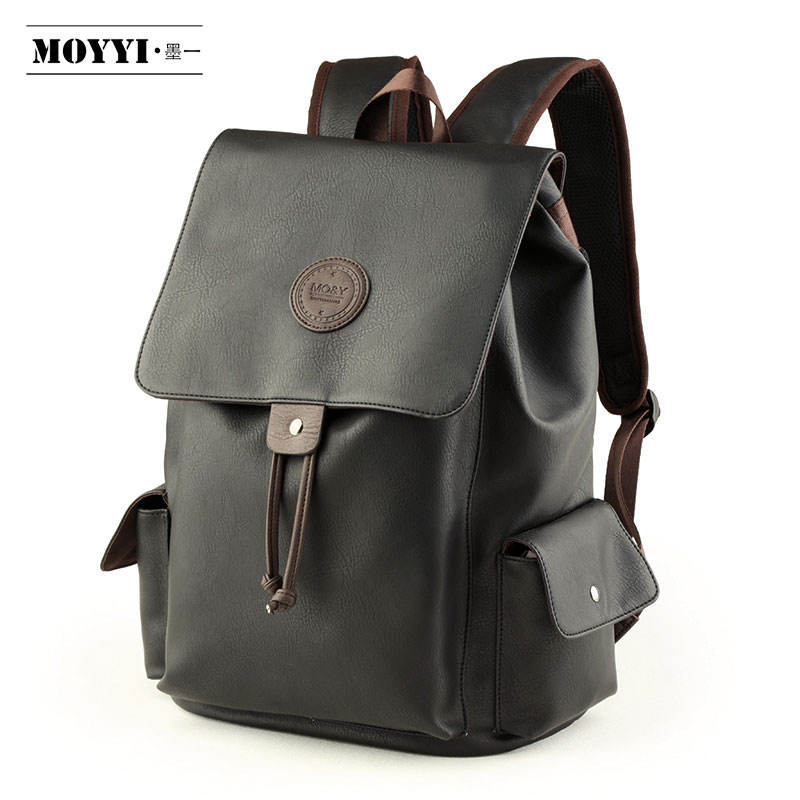 MOYYI high quality personalised teen laptop waterproof leather backpacks manufacturer best backpack for college students men