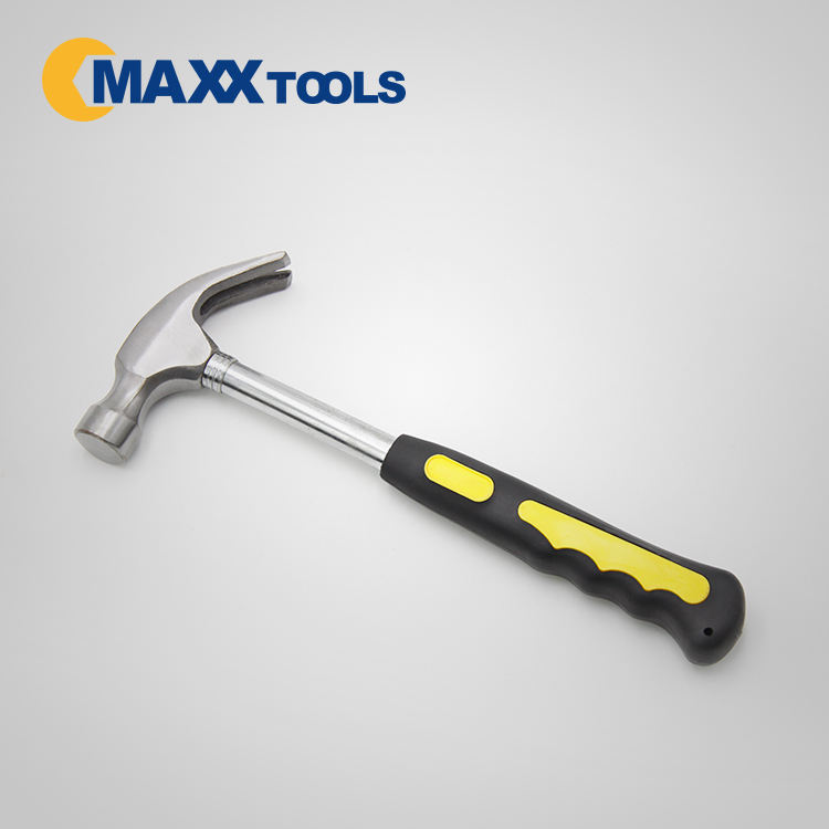 claw hammer with double color non-slip soft and tubular handle