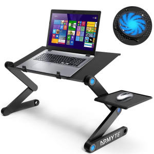 Cornmi Laptop Folding Table Stand Aluminum Desk Riser With Large Cooling Fan And Mouse Pad Side Portable Adjustable