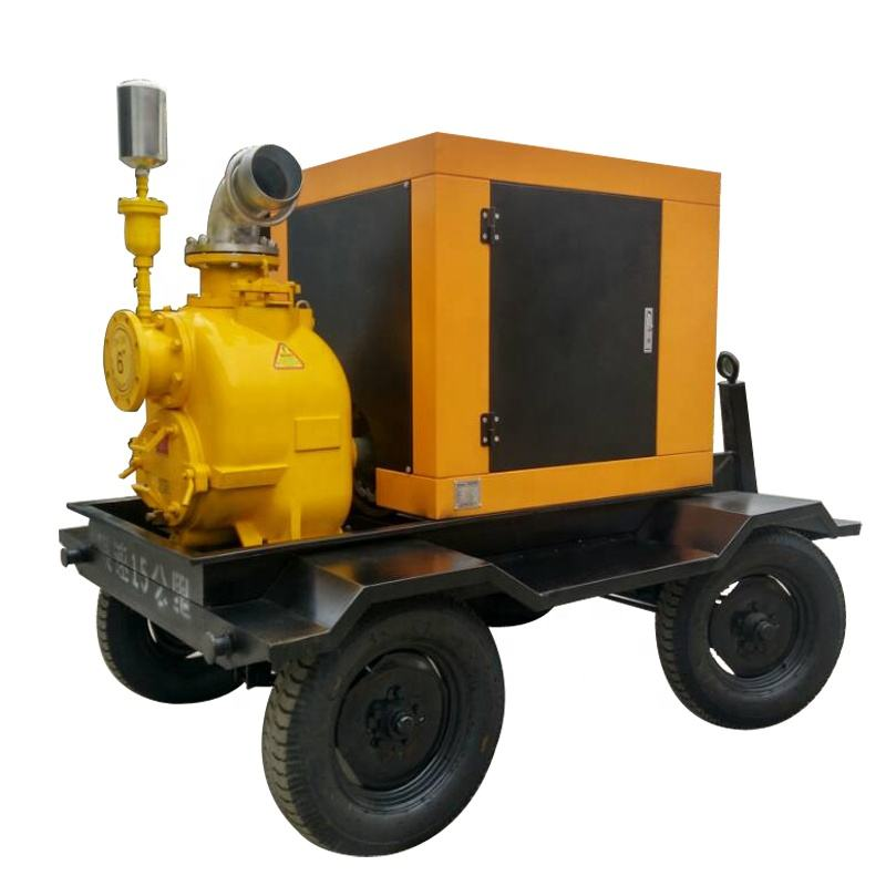 6インチTrailer Mounted Movable Diesel Engine Self Priming Pump With Flexible/Floating Suction Hose