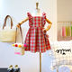 Summer new girls retro plaid college wind wooden ear flying sleeves waist dress