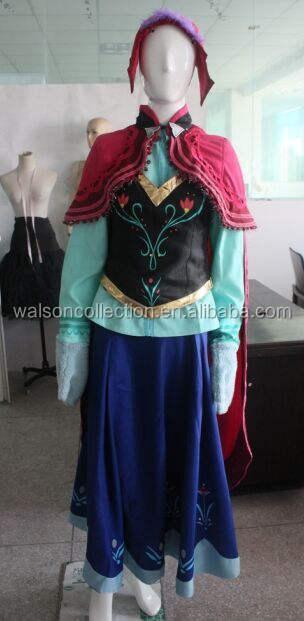 2014熱い walson冷凍デラックス エレガント大人アンナ ドレス衣装プリンセス アンナ衣装