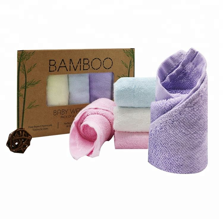 High quality 6 pack Bamboo Baby Face Washcloth Towel Set