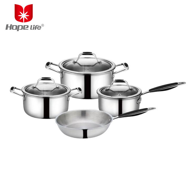 7pcs Tri-Ply cookware sets kitchen stainless steel copper cookware india