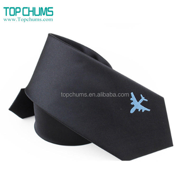 Men's Slogan custom embroidered print polyester silk neck ties with logo