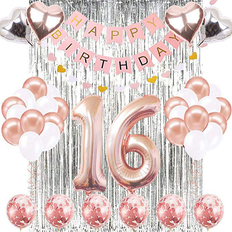 16th Decorations Supplies Set Happy Birthday Banner, 40 Inch Rose Gold Number 16 Birthday Balloons Silver Rain curtain