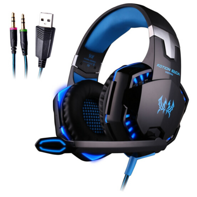 Yinzhuo G2000 Tough Armor Untrlthin Clear Sound Gaming Headphone Headset for Laptop/Computer-Black+Blue