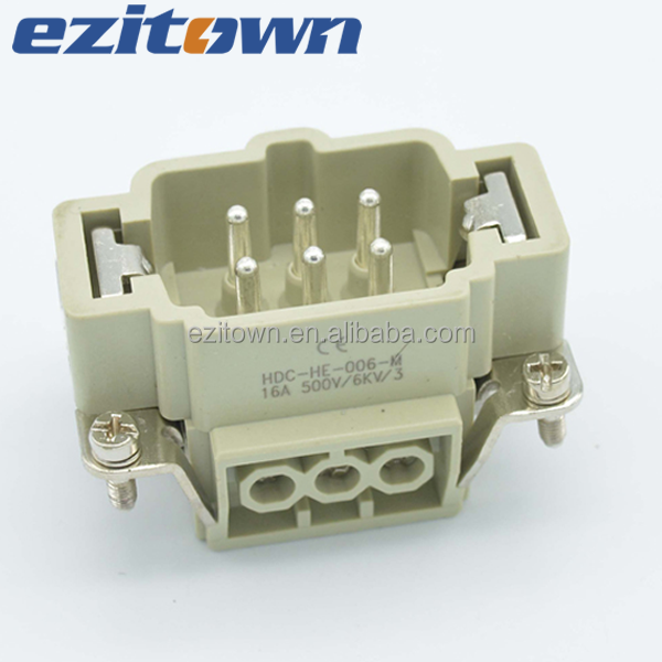 Ezitown IP65 Industrial Copper Alloy Material 6 Pins Current 16A Voltage 500V Screw wire Terminal Heavy Duty Connectors