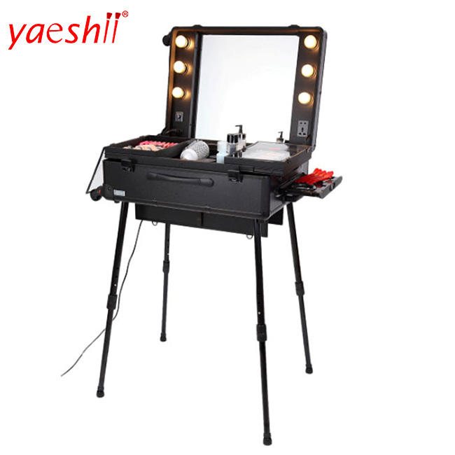 yaeshii large rolling studio led lighted mirror artist train case makeup station