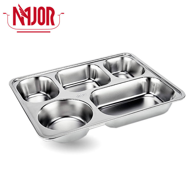 304 Stainless Steel 5 Compartments Section (4 Rectangle + 1 Round) Rectangle Dinner Divided Plates Thali For Restaurant Price