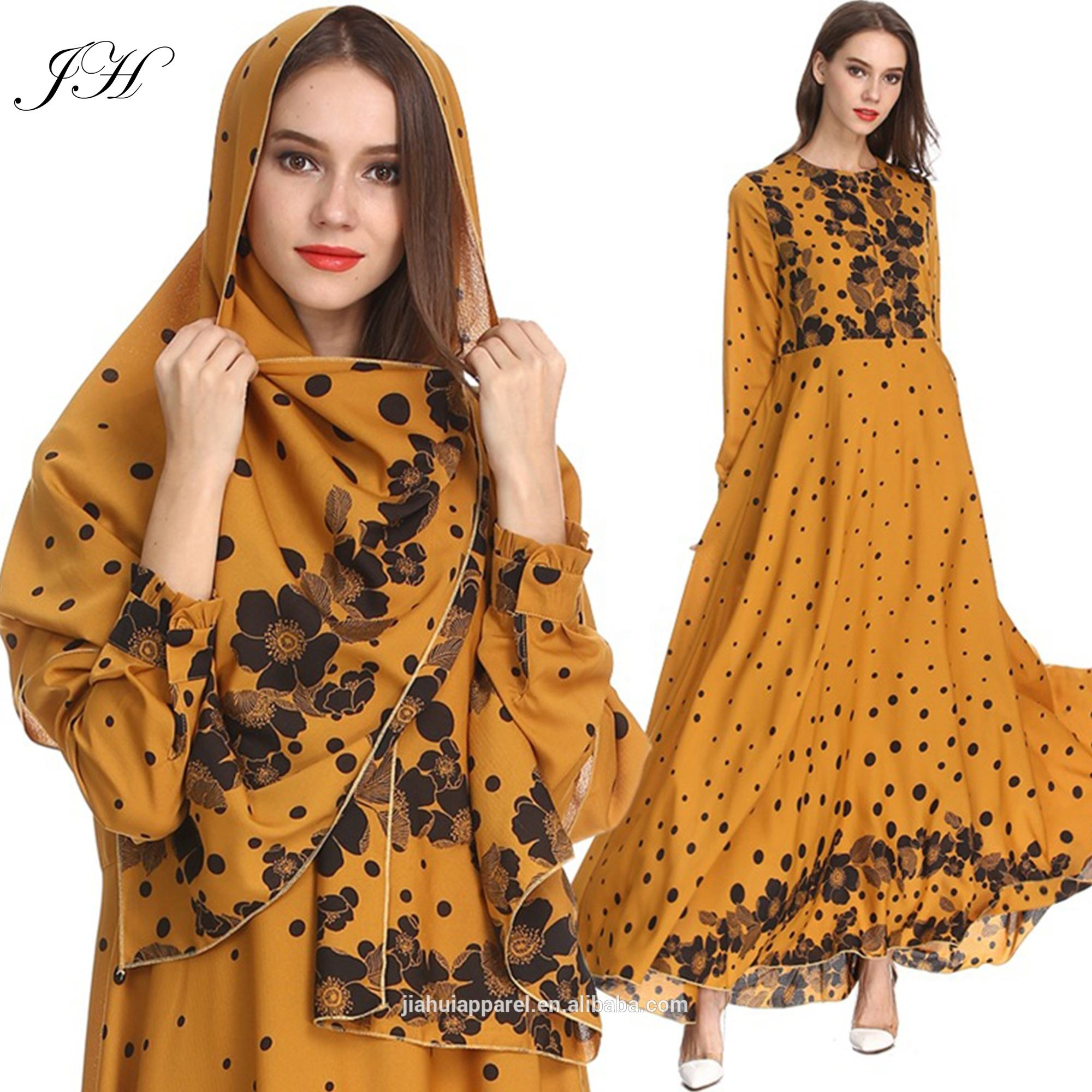 2019 Latest Design Kaftan Abaya Jilbab Islamic Clothing Floral Dot Printed Long Sleeve Vintage Maxi Muslim DressとHijab