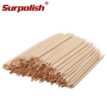 100pcs 38x75mm Wood Sticks Nail Art Double Sided Cleaning Nail Orange Nail File Polish Cuticle Pusher Remover Manicure Tools