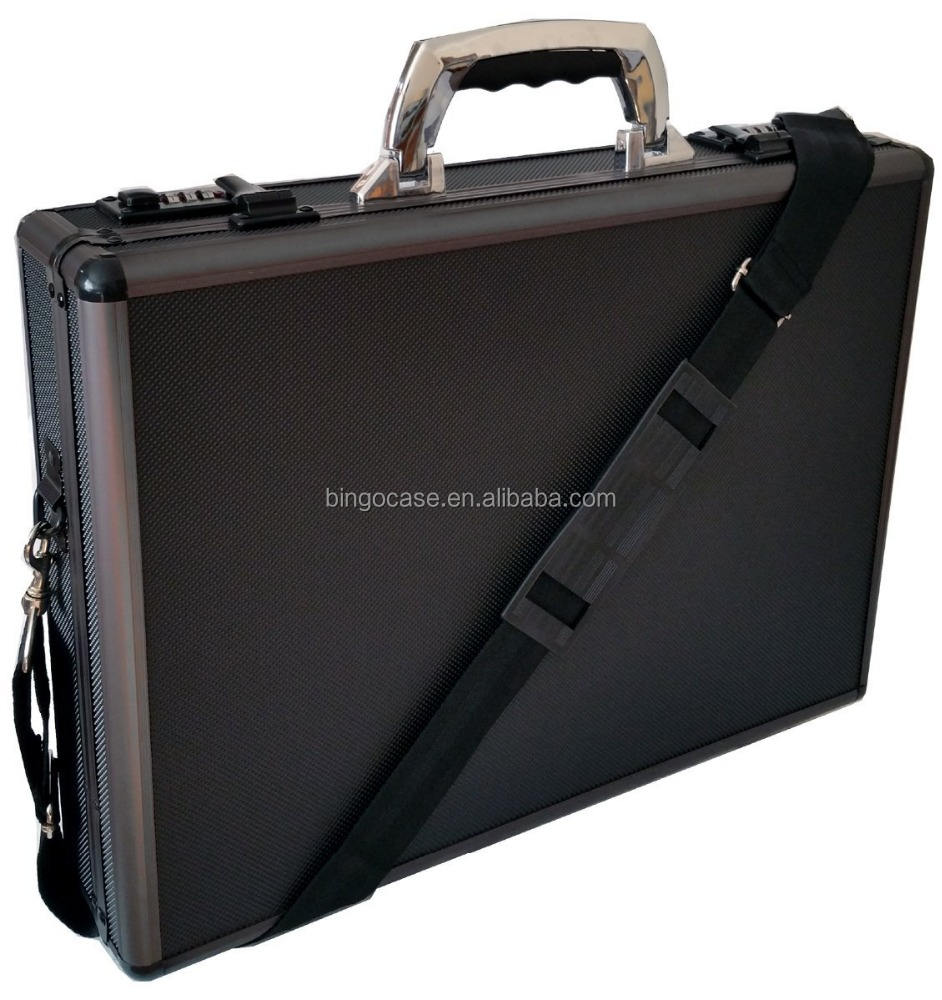 Pro Aluminium Executive Laptop Padded Aktentasche Aktentasche Schwarz/Gun Metal