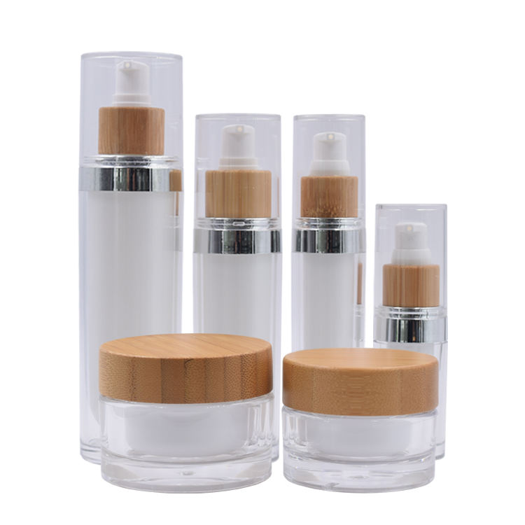 top grade and luxury cosmetic bottles and jars 15 ml 30 ml 50 ml 30 g 50 g bamboo acrylic bottles and jars