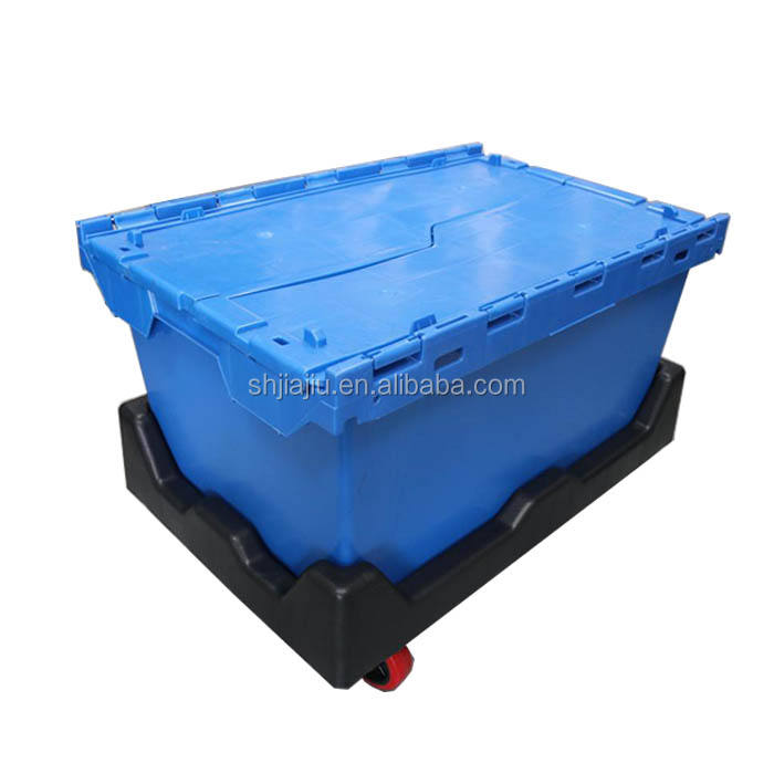 JOIN 80L heavy duty plastic stackable storage tote bins stock moving boxes attached lid container with handles