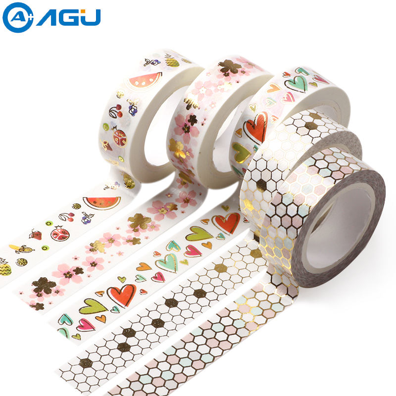 AAGU New Arrival Bowknot Flower Heart Pattern Foil Washi Tape Adhesive Paper Masking Tape Office Supplies Paper Stickers