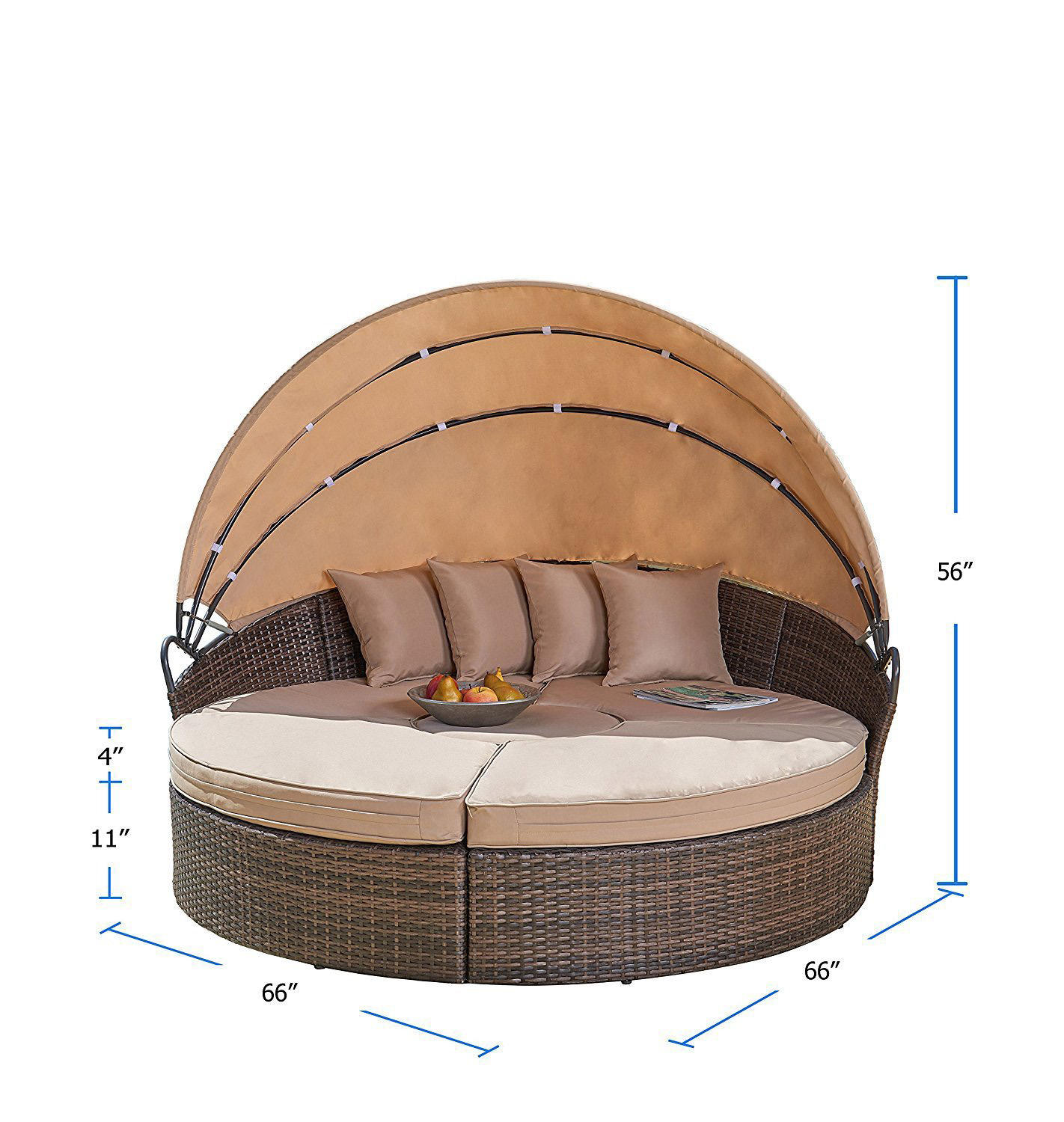 Outdoor Furniture Wicker rattan with Retractable Canopy Clamshell Seating