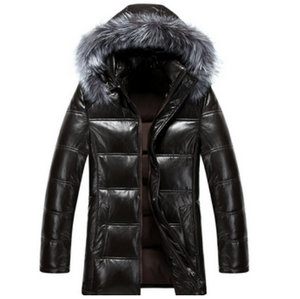2020 COOL MEN black down jacket for winters men fur hood mens padded winter jacket&leather feather jacket