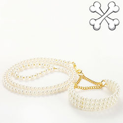 pet dog cat luxurious pearl collar leash set doggy collars leads suit dogs fashion leash products
