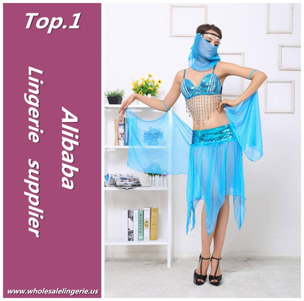 Azul super sexy sujetador de lentejuelas borlas del frente irregular gasa transparente cleopatra traje adulto vestido de baile con velo