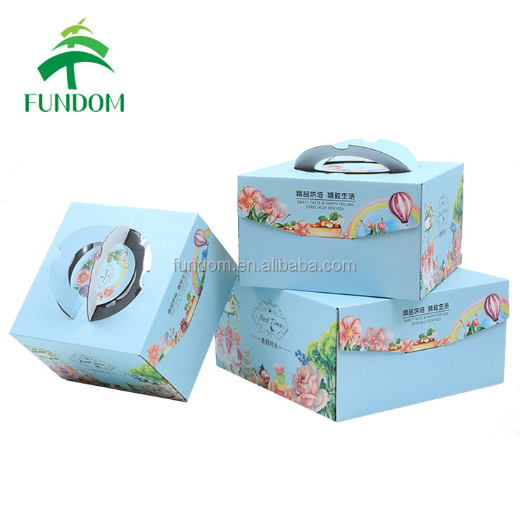 china custom retail blue color best time printed bulk corrugated cake box for wholesale