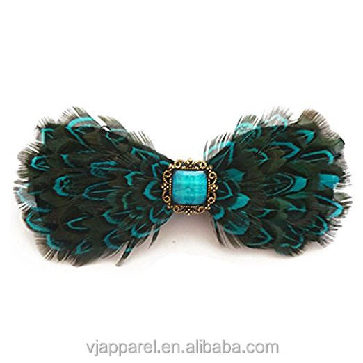 Men Suits Adjustable Peacock Feather Bow Tie With Band