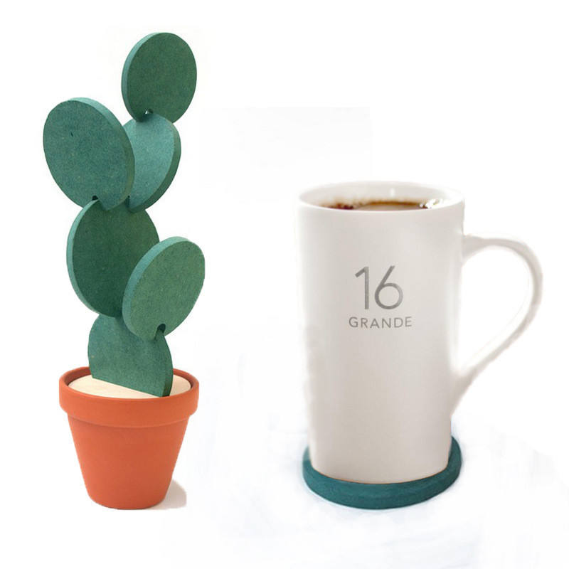 Cute Coaster Novelty Pad Set Home Table Decoration Accessories Plant Cactus Cup Mat
