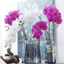 L-1006 High Quality White Purple Real Touch Artificial Orchid For Home Decoration