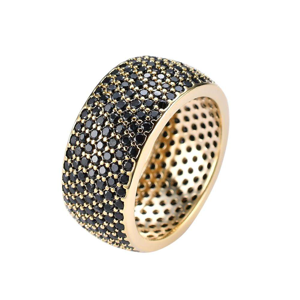 Copper mirco pave Black CZ stone Hip Hop Ring All Iced Out CZ Stone Rings R001