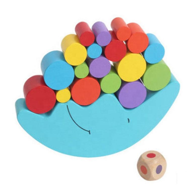 Children Early Educational Kids Blue Wooden Moon Balance Toy Stacking Blocks Boat Game other toy