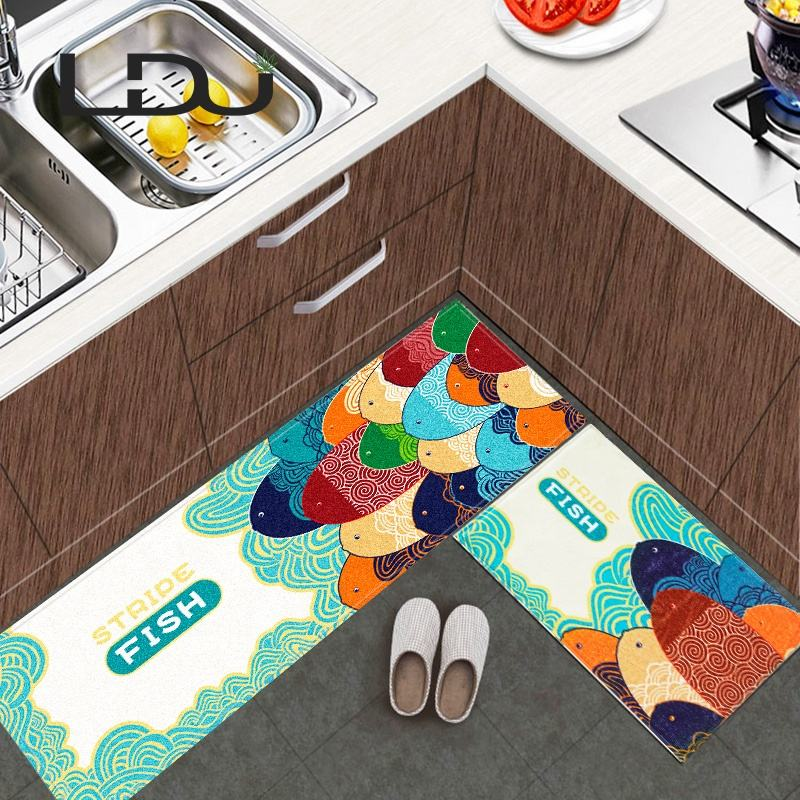 Non Slip Carton Rectangle Flannel Comfort Modern Decorative Joint Anti Fatigue Drying Foot Chef Kitchen Table Floor Mat for Door