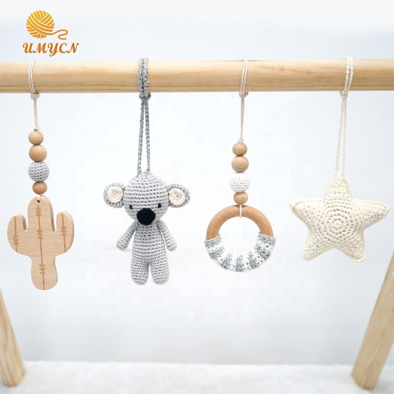 Neutral Koala Bear Wooden Baby Play Gym With Hanging Teether Toy