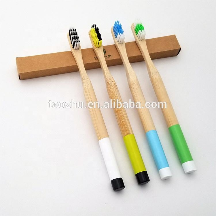 Latest fashion double colors painting bamboo handle round toothbrush with customized sepcification