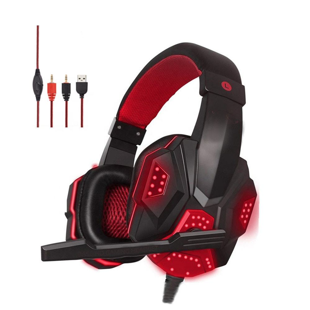 Super sound quality headphones earbuds with microphone led light over ear headset pc gaming