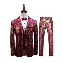 365493 red color three piece Men Suit with vest & Pants & coat
