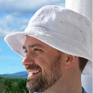 mens white terry towel material bucket hat