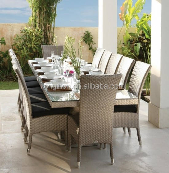 Fabulous 12 seater garden dining table and chair glossy glowy shining rattan / wicker furniture sets