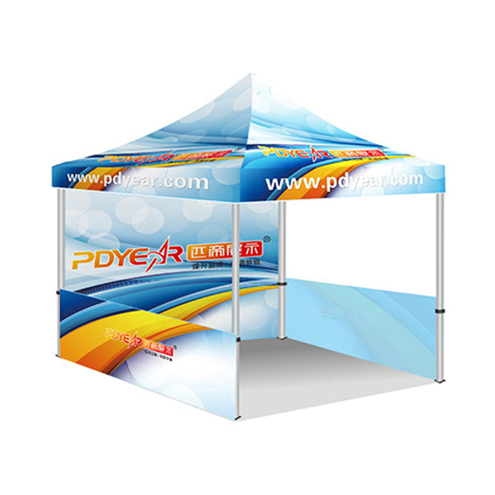 Shop 10x10ft canopy tent frame with custom printed tent top plus full back wall and half side walwith roller bag