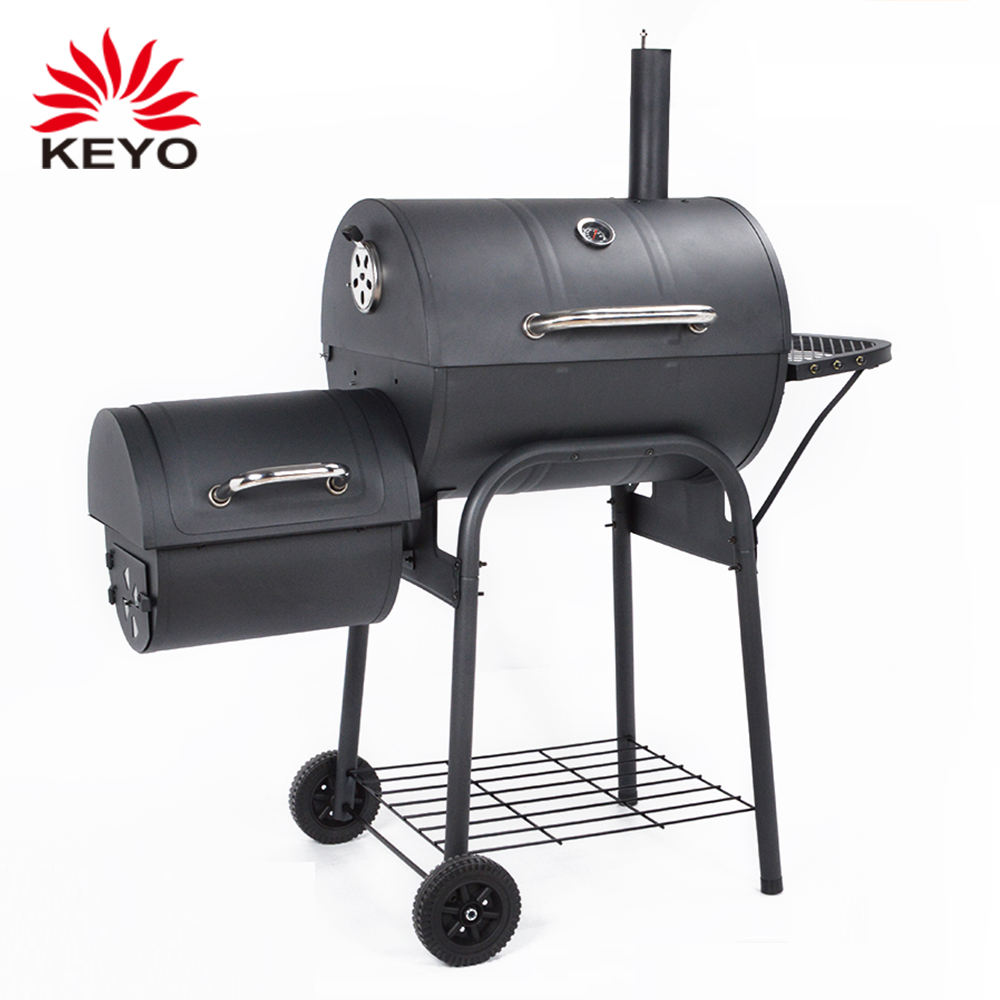 Low Cost Outdoor Trolley Charcoal Grill Bbq Smoker Barrel Offset barbecue smokers with wheels