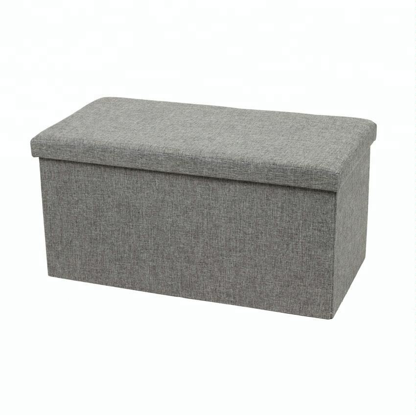 Grey Linen fabric folding storage foot stool ottoman