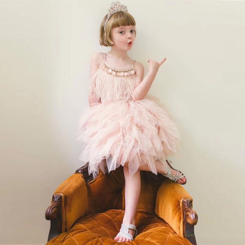 Boutique Wholesale Kids Girl Summer Dress Party Ball Gown Children Spaghetti Strap Tulle Dresses Princess Dance Tutu Dress