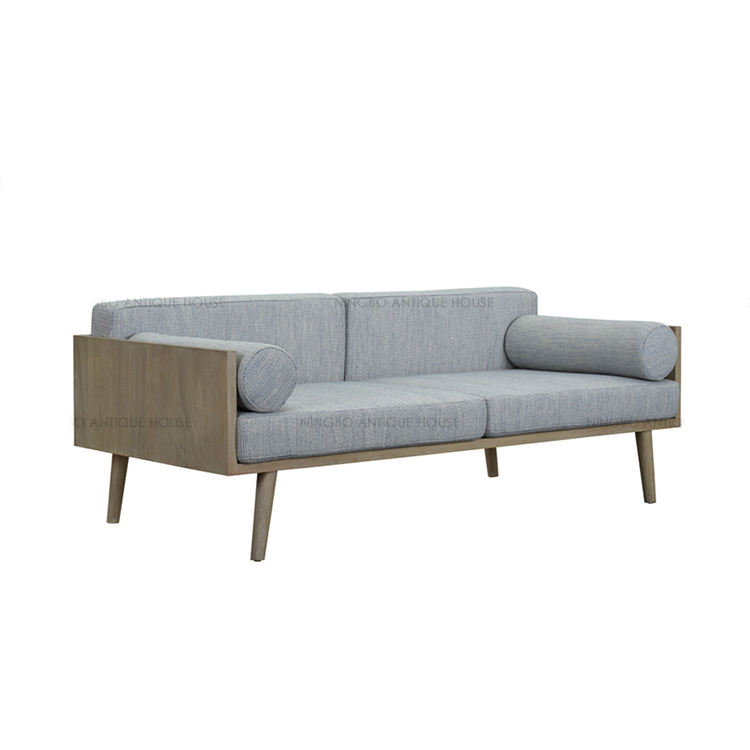 Ningbo Home Furniture Antique House Two Seat Living Room Nordic Sofa, Modern Sofa, Oak+Fabric Living Room Sofa
